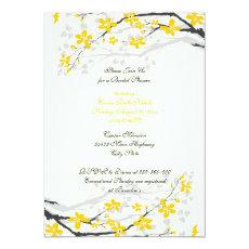Magnolia yellow flowers bridal shower invitation 5
