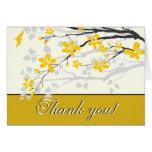 Magnolia yellow flowers wedding Thank you card