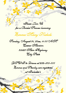 magnolia yellow grey flowers bridal shower invitation