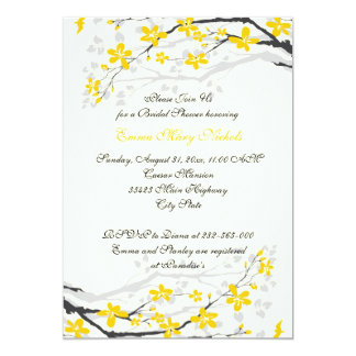 Magnolia yellow, grey flowers bridal shower 5x7 paper invitation card
