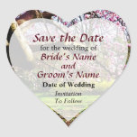 Magnolias and Forthysia Save the Date Heart Sticker