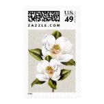 Magnolias blancas elegantes timbre postal