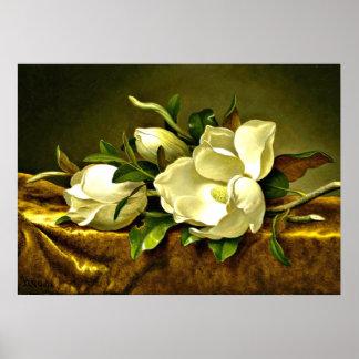 Magnolias en el paño del terciopelo del oro, pintu impresiones