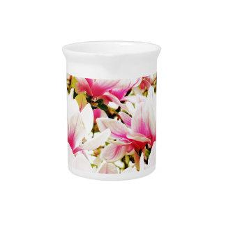 Magnolias en el sol jarra para bebida