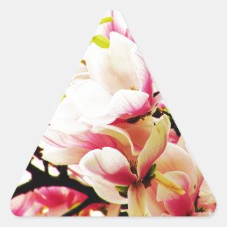 Magnolias en el sol calcomania de triangulo personalizadas