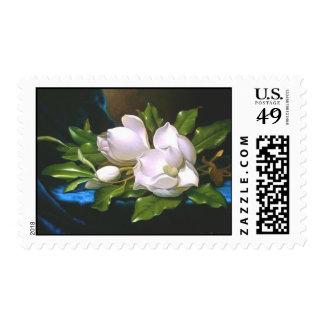 Magnolias en el terciopelo azul estampilla