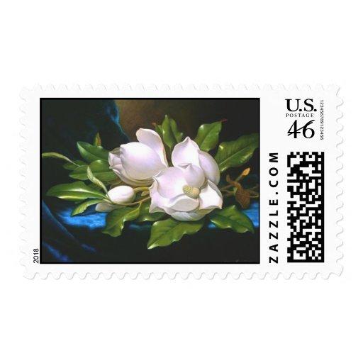 Magnolias en el terciopelo azul - sello
