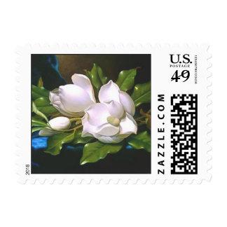 Magnolias en el terciopelo azul timbres postales