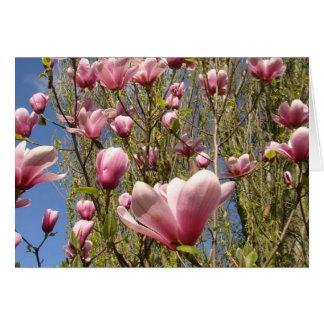 Magnolias en la floración tarjeta de felicitación