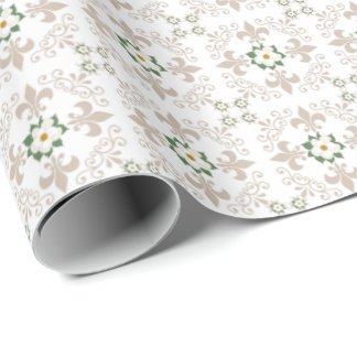 Magnolias   Fleur de Lis Pattern - Greige   White Wrapping Paper