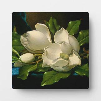 Magnolias gigantes en una placa azul del paño del