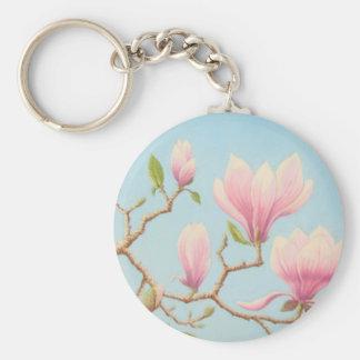 Magnolias in Bloom, Wisley Gardens in Pastel Basic Round Button Keychain