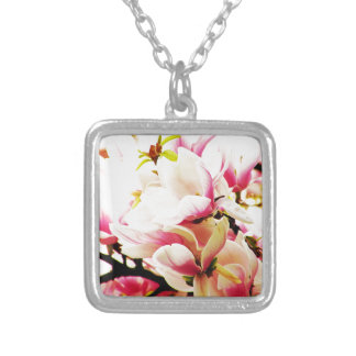 Magnolias in the sun silver plated necklace