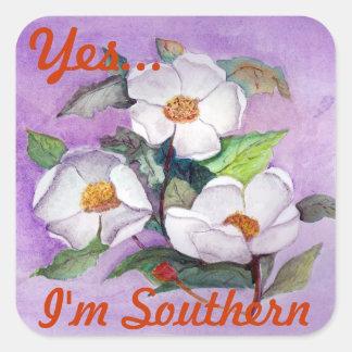 Magnolias meridionales blancas Painterly en la Pegatina Cuadrada