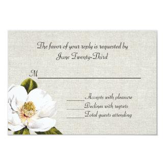 """Magnolias meridionales elegantes que casan la invitación 3.5"""" x 5"""""""