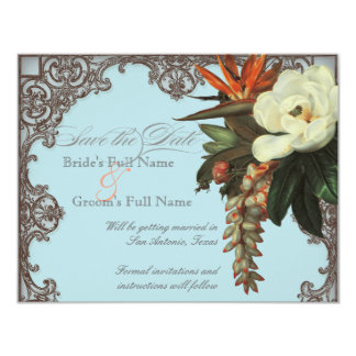 Magnolias n Bird of Paradise - Save the Date Personalized Invitations