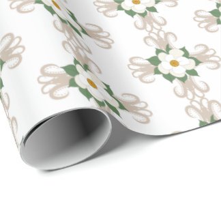 Magnolias on Crosses Floral Pattern Greige   White Wrapping Paper