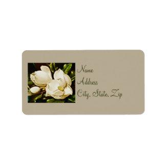 Magnolias que casan etiquetas de dirección