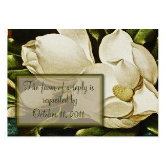 Magnolias que casan la tarjeta de contestación de tarjetas de visita grandes