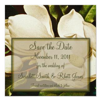 """Magnolias que casan reserva que la fecha nota invitación 5.25"""" x 5.25"""""""