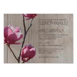 Magnolias rústicas que casan invitaciones comunicados personales