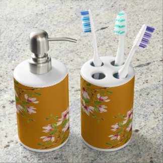 Magnolias Soap Dispenser And Toothbrush Holder