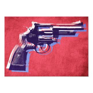 Magnum Revolver on Red 13 Cm X 18 Cm Invitation Card