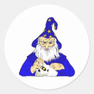 mago azul con el cráneo pegatinas redondas