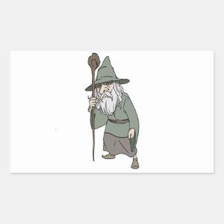 Mago barbudo con el personal del mago rectangular pegatinas