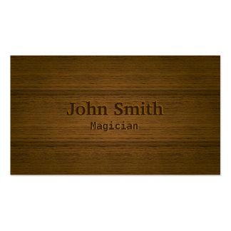 Mago de grabación en relieve de madera elegante tarjetas de visita