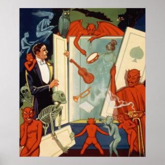 Mago de Halloween del vintage y acto mágico fantas Impresiones