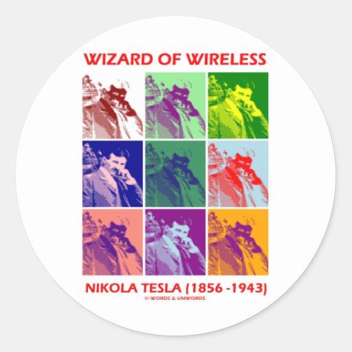 Mago de la radio (Nikola Tesla nueve imágenes) Pegatina Redonda
