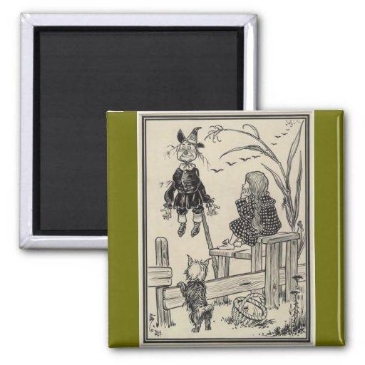 Mago de Oz Dorothy y el espantapájaros Imán Cuadrado
