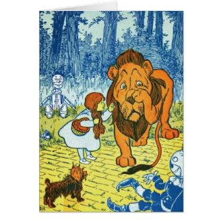 Mago de Oz Dorothy y el león cobarde Tarjeton