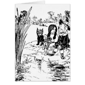 Mago de Oz Toto, Dorothy y espantapájaros Tarjeton