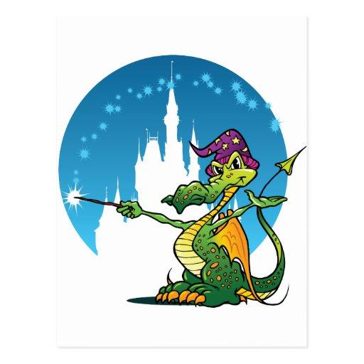 Mago del dragón del dibujo animado tarjetas postales