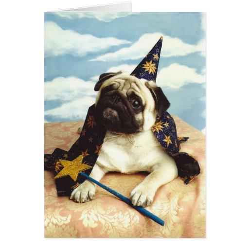 Mago del mago del perro del barro amasado tarjeta de felicitación