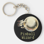 Mago del pinball llavero redondo tipo pin