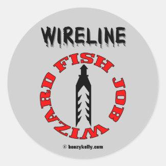 Mago del trabajo de los pescados del cable pegatina redonda