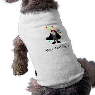 Mago en un cabo negro con un dibujo animado del playera sin mangas para perro