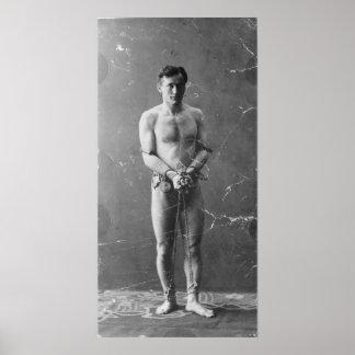 Mago Harry Houdini que se coloca en cadenas Poster