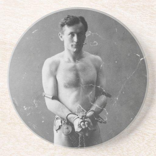 Mago Harry Houdini que se coloca en cadenas Posavaso Para Bebida