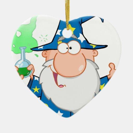 Mago loco que sostiene una poción mágica verde adorno navideño de cerámica en forma de corazón