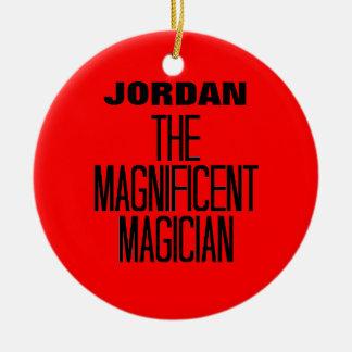 Mago magnífico adorno navideño redondo de cerámica