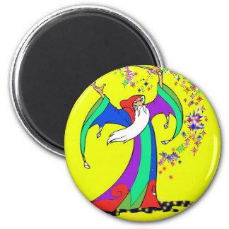 Mago que echa encantos mágicos coloridos con la va imán redondo 5 cm