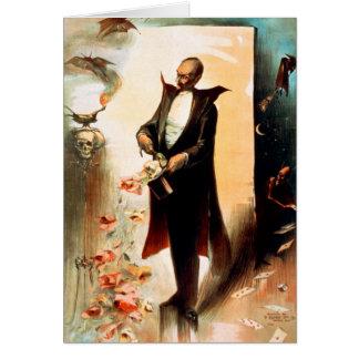 Mago que saca de rosas el sombrero de copa, c.1892 tarjeta de felicitación