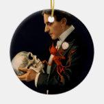 Mago Thurston del vintage que sostiene un cráneo Adorno Redondo De Cerámica