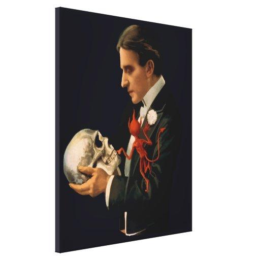 Mago Thurston del vintage que sostiene un cráneo h Impresión En Lienzo Estirada
