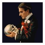Mago Thurston del vintage que sostiene un cráneo Invitación 13,3 Cm X 13,3cm