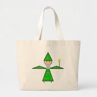 Mago verde amistoso del palillo bolsa tela grande